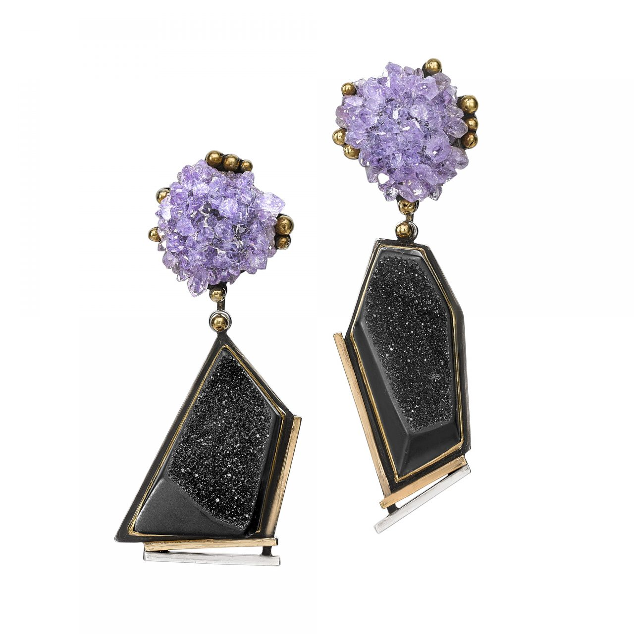 Amethyst & Onyx Earrings