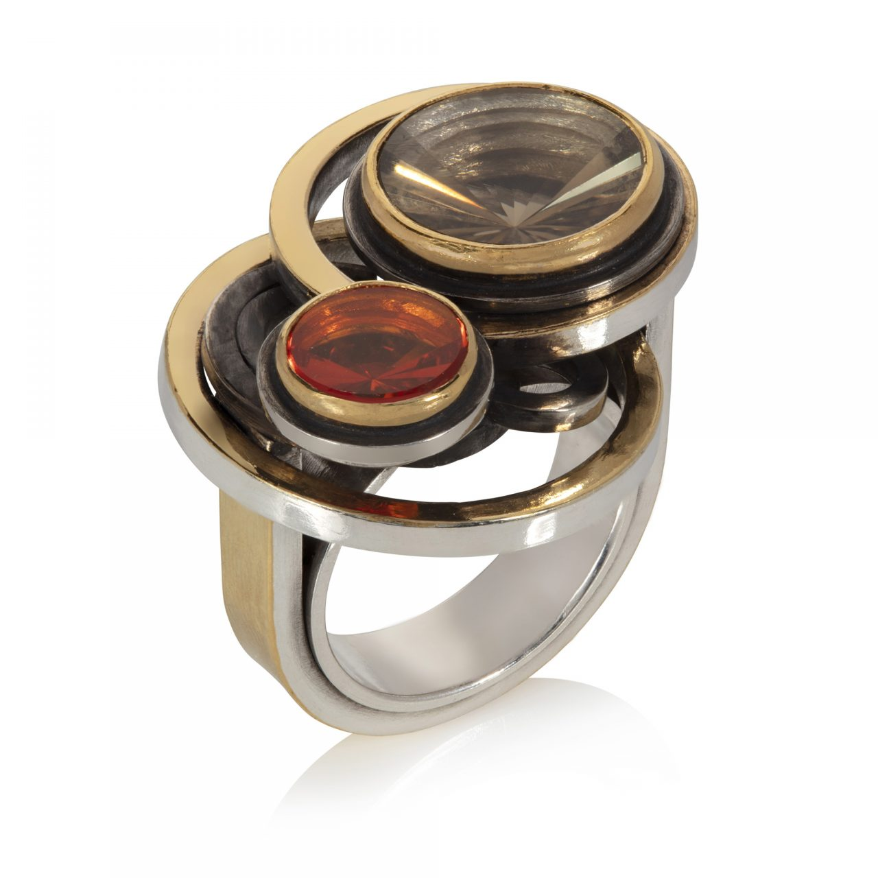 Smoky Topaz and Fire Opal Ring