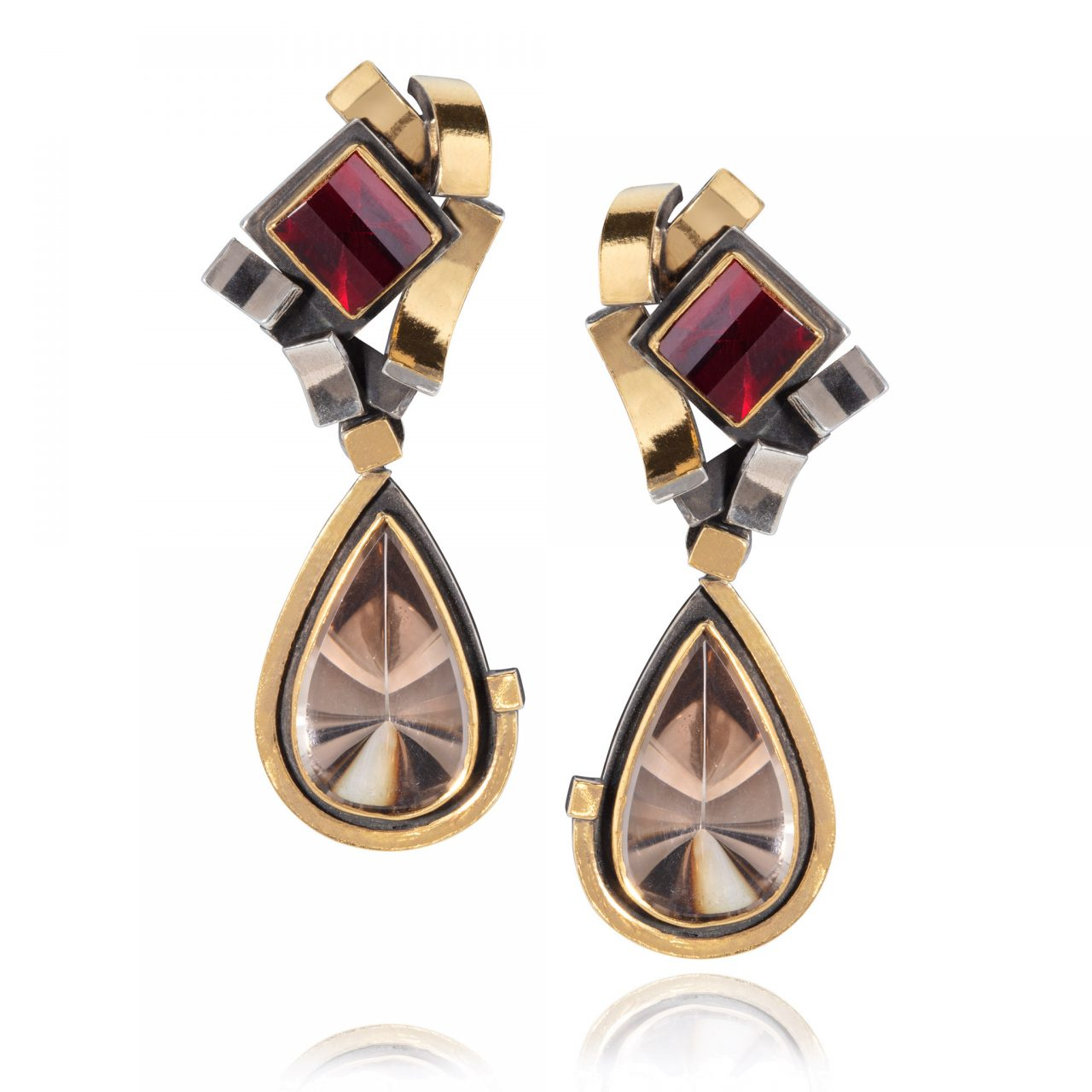 Smoky Quartz and Garnet Earrings