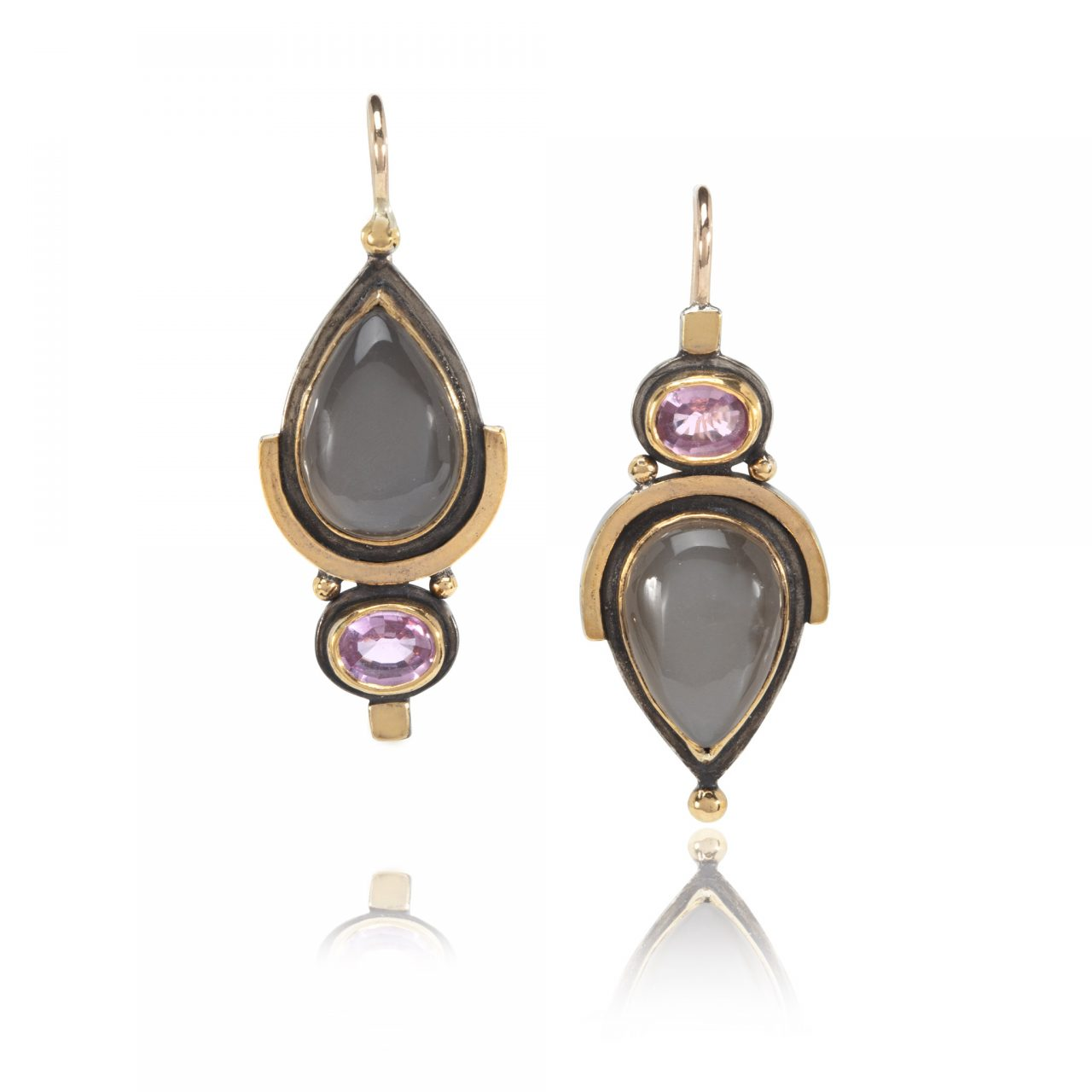 Grey Moonstone and Pink Sapphire Earrings