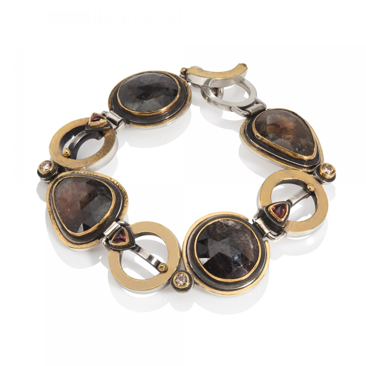 Bracelet with Brown Sapphires, Garnets and Diamonds